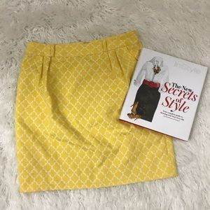 Kate Spade Yellow White Skirt Sz 6 Euc Pockets